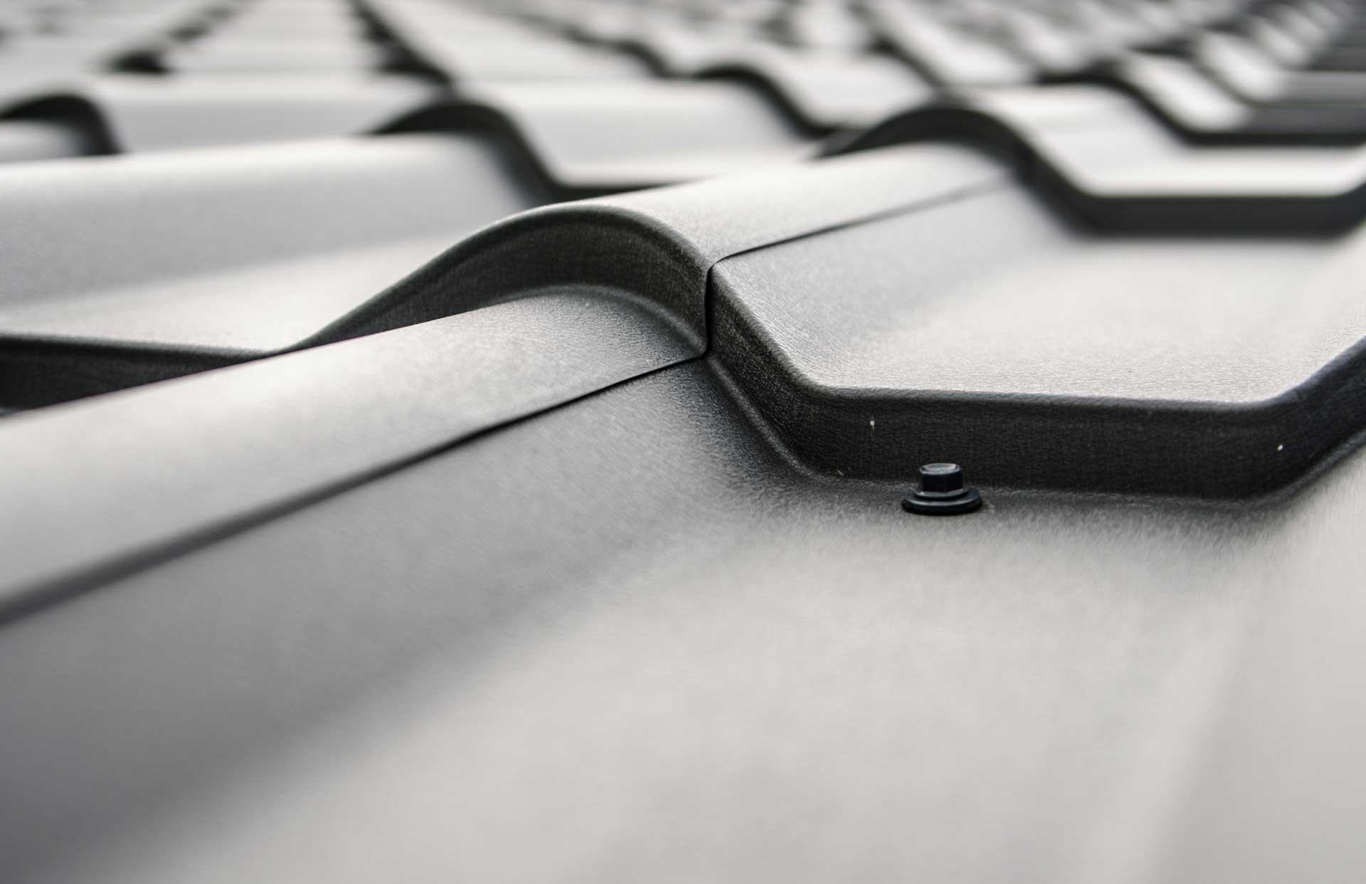close up view of metal roofing shingles