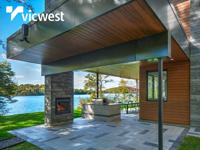 exterior patio of modern home on the lake
