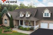 aerial exterior shot of home with new roof and two door garage