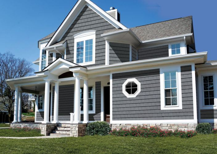 home exterior with new grey siding