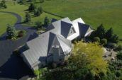 aerial exterior of home on huge property with new roof