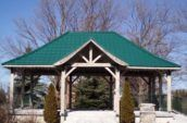 exterior of gazebo with new green metal roof