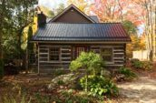 exterior of cabin with metal roofing