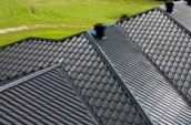 aerial detail shot of home metal roofing