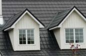 detail of home metal roofing