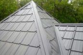 close up detail of home metal roofing