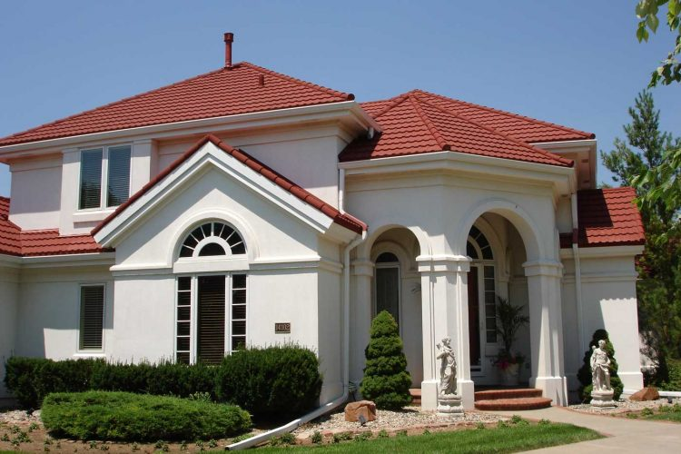 spanish red stone coated roofing on exterior of home